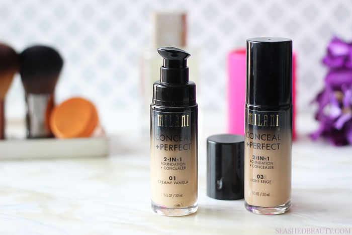 See if the Milani Conceal + Perfect 2-in-1 Foundation + Concealer is a home run drugstore foundation with before and after pictures. | Slashed Beauty