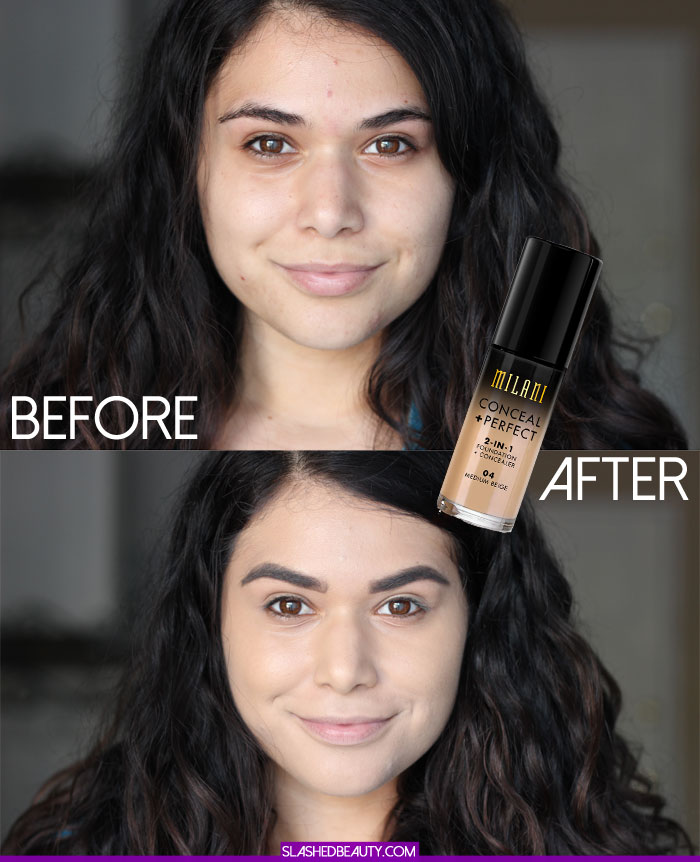 Before and after the Milani Conceal + Perfect 2-in-1 Foundation + Concealer. See how long this crazy coverage lasted! | Slashed Beauty
