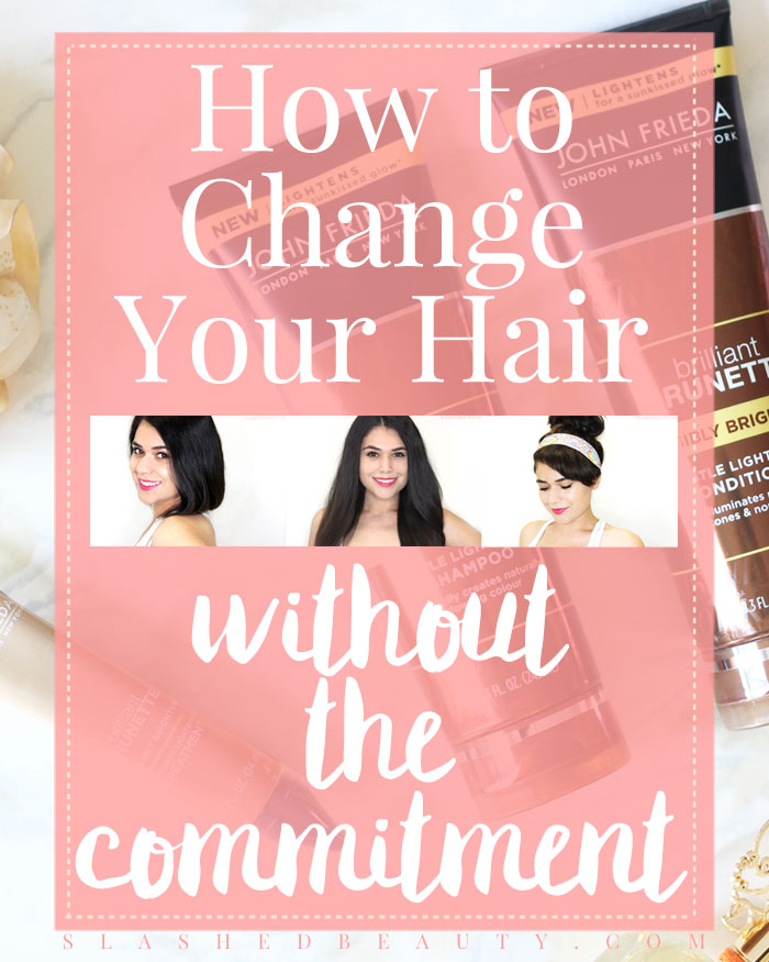 Learn how to change up your hair without the commitment: lighten your hair without a salon trip, rock faux bangs, and fake a chic chop with these tips! | Slashed Beauty