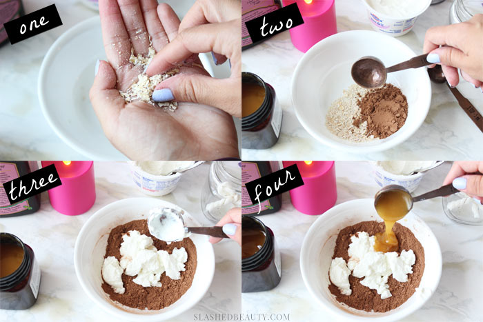 Indulge yourself and treat your skin to this chocolate face mask that soothes and softens skin. Get the recipe here! | Slashed Beauty