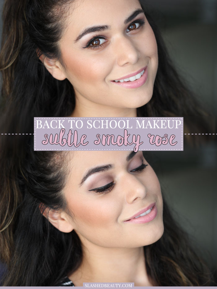 This subtle smoky rose back to school makeup look takes all of ten minutes and has you feeling polished running out the door for class! | Slashed Beauty