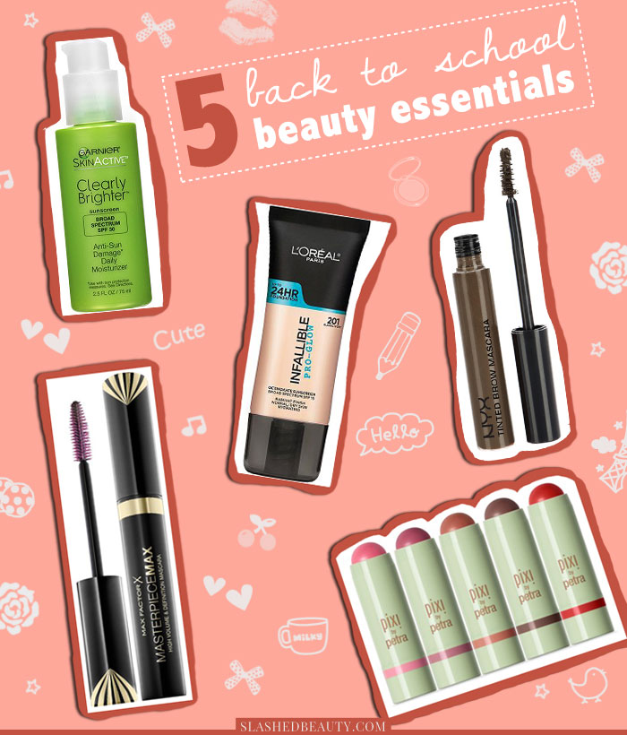These back to school beauty essentials will help you achieve a fresh faced makeup look in a flash. | Slashed Beauty