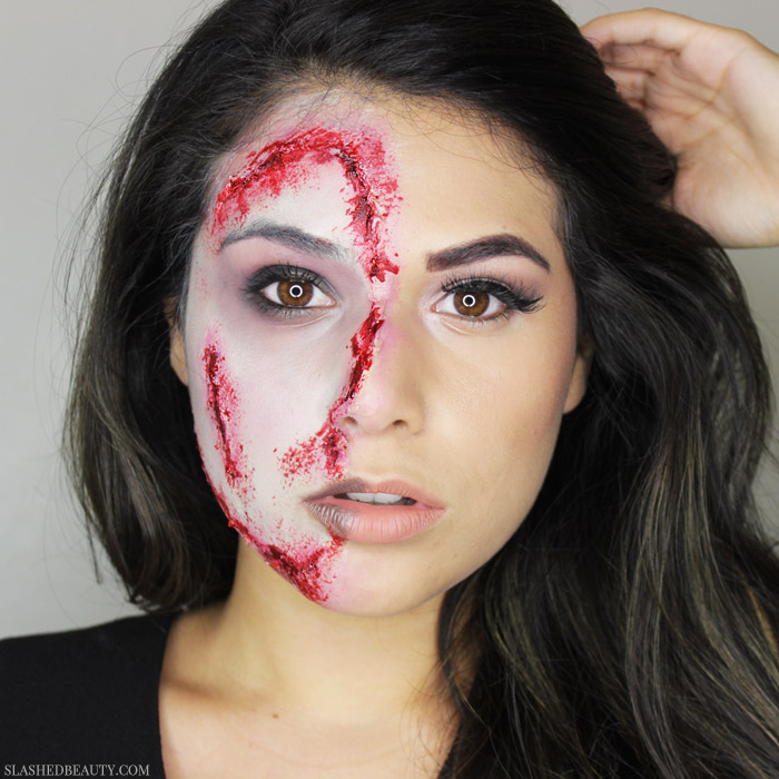 Channel both your glam and gory side with this transitioning zombie Halloween makeup look that's easy to recreate. Watch the video!   Slashed Beauty