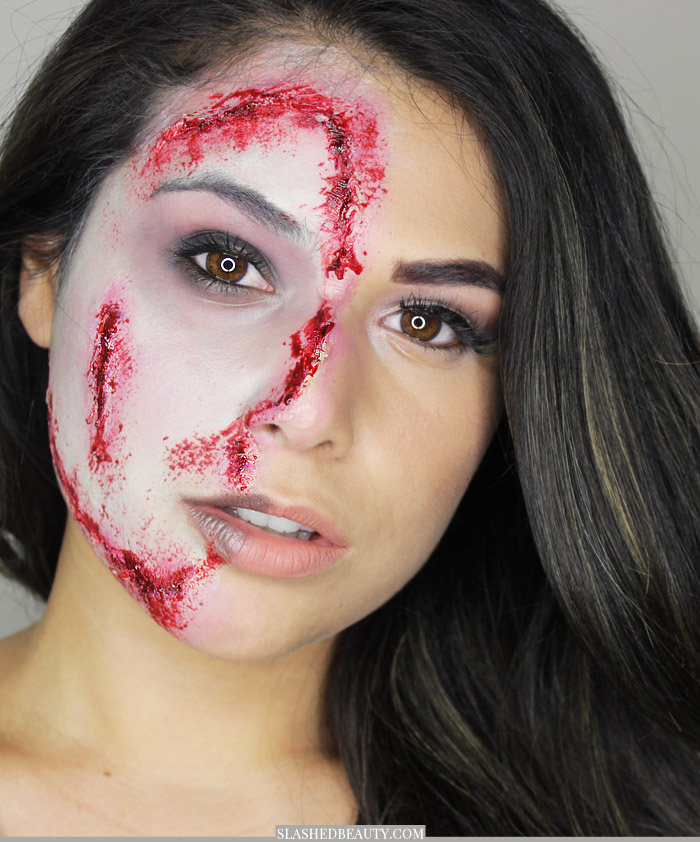 Glam Half Zombie Halloween Makeup Tutorial