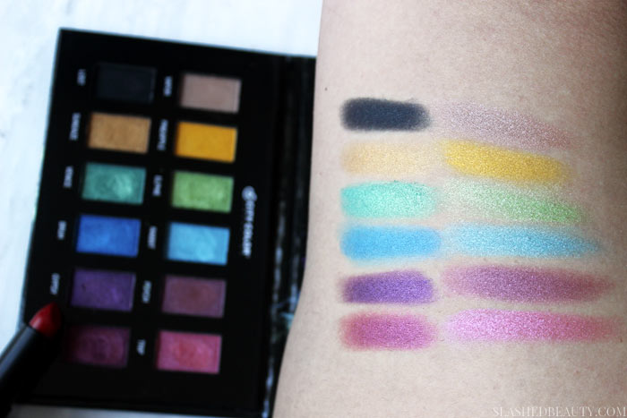 Swatches of the new City Color Cosmetics Hypnotic Palette-- read the full review and see a complete look! | Slashed Beauty