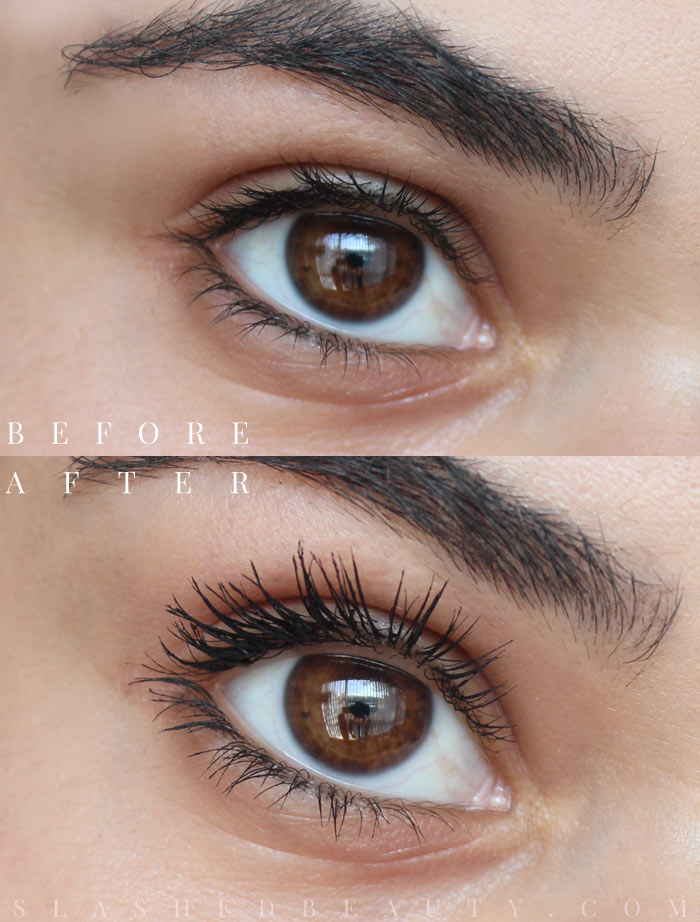 Before and after using the new L'Oreal Voluminous Feline Noir Mascara. Read the full review to see how it held up throughout the day. | Slashed Beauty
