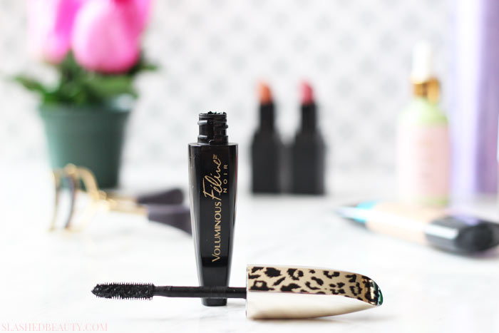 See a before and after using the new L'Oreal Voluminous Feline Noir Mascara | Slashed Beauty