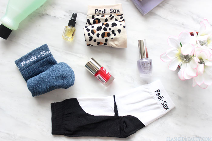 These beauty hacks are the best tips to get a perfect winter pedicure! Which ones haven't you been doing? These Pedi-Sox are my best kept secret... | Slashed Beauty