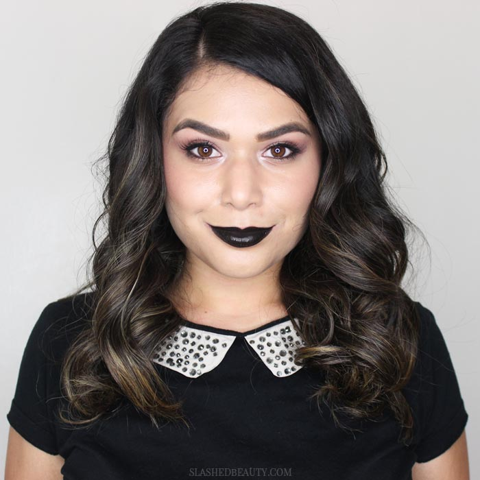 Watch the video to see how to recreate this wearable rose gold and black lipstick makeup look! | Slashed Beauty