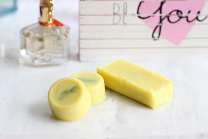Learn how to make these DIY Lotion Bars that feel great on dry skin this season-- it's easy! Perfect for homemade holiday gifts. | Slashed Beauty