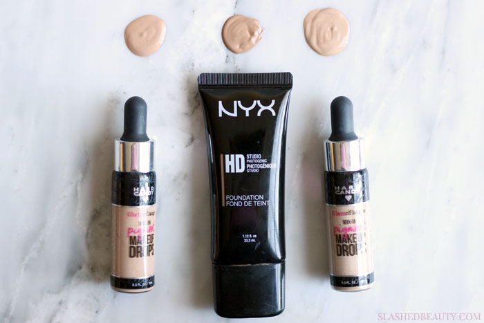 The Hard Candy Glamoflauge Mix-In Pigment Makeup Drops Review are perfect for adjusting your foundation shade or creating custom tinted moisturizers and foundations! See how they work. | Slashed Beauty