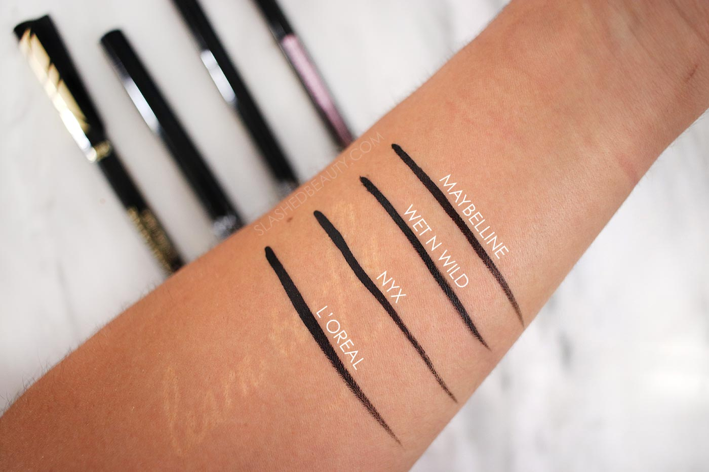 Long Lasting Drugstore Liquid Eyeliner Swatches | The 4 Best Drugstore Liquid Eyeliners | Slashed Beauty