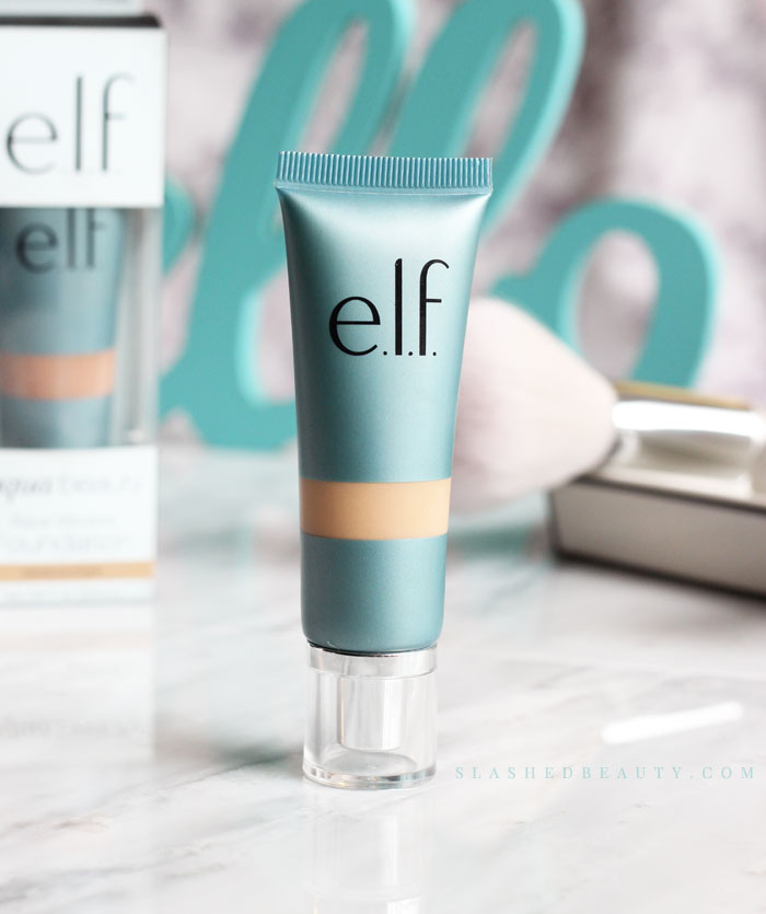 The new e.l.f. Aqua Beauty Mousse Foundation gives you radiant coverage with a lightweight feel. See a before & after and read the full review to see how it's different than its description! | Slashed Beauty