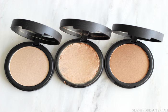 Check out why the e.l.f. High Definition Shimmer Highlighting Powder is my new favorite powder highlight. See swatches of all three shades! | Slashed Beauty