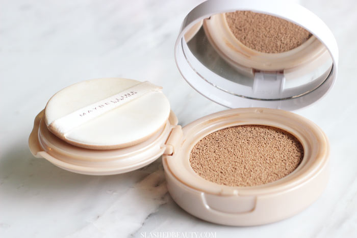 Find out what makes the Maybelline Dream Cushion Foundation the best one to hit drugstores, plus a before and after. | Slashed Beauty