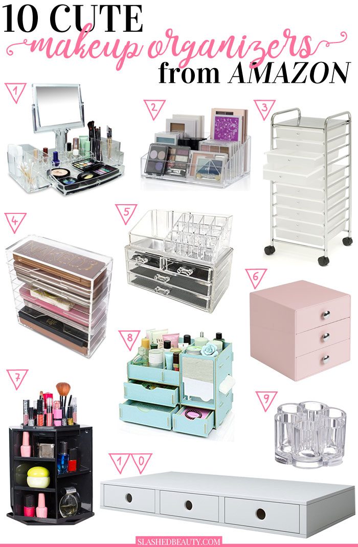 10 Cute Makeup Organizers to Buy on Amazon | Cute Makeup Storage on Amazon | Slashed Beauty