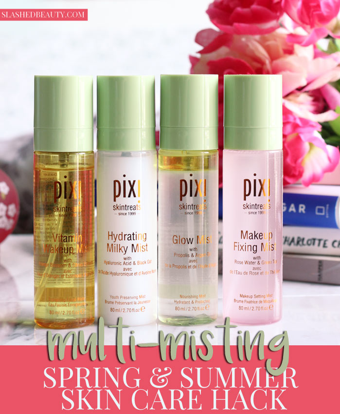 Find out why multi-misting is a perfect skin care hack for Spring & Summer, and my favorite face mists from Pixi to do it with! | Slashed Beauty