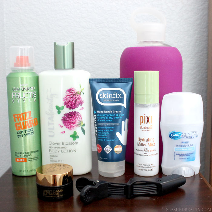 Check out what nightstand beauty essentials I keep close by to use bedside in this dry climate summer. | Slashed Beauty