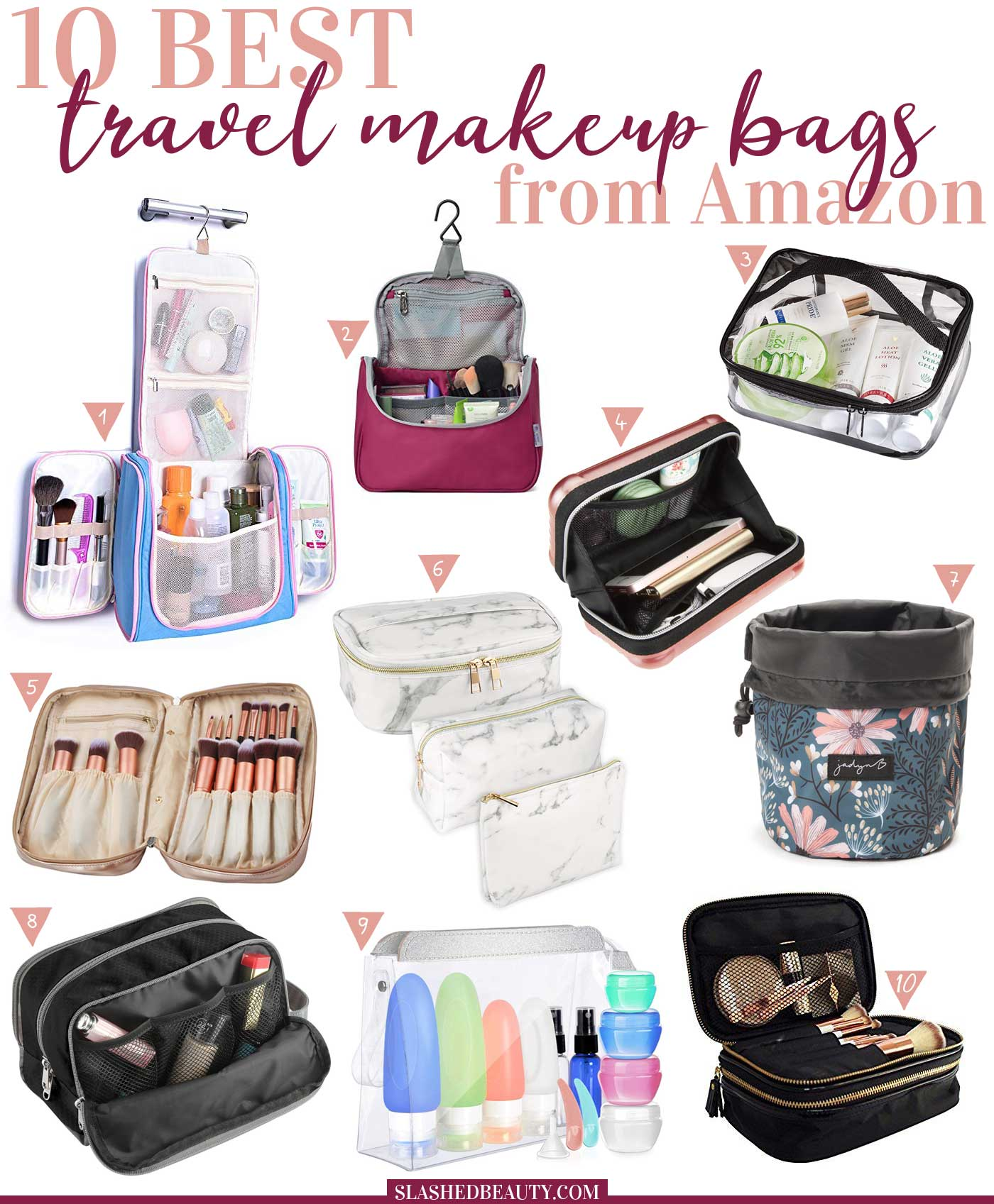 10 Best Travel Makeup Bags to Buy on Amazon | Packing Makeup for Travel | Travel Beauty Bags from Amazon | Slashed Beauty