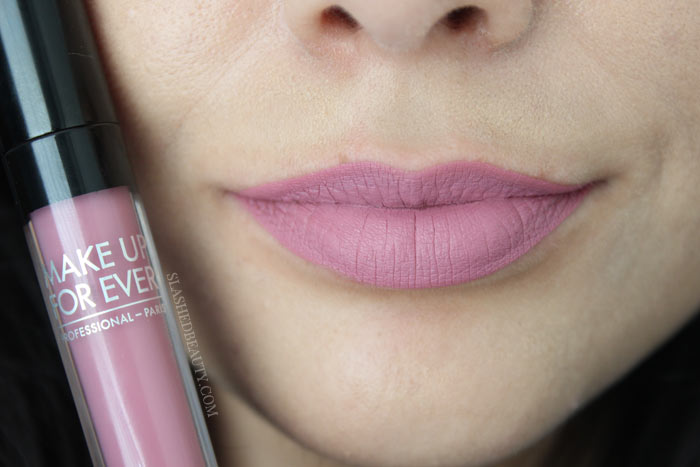 Check out the new and best high end matte liquid lipsticks: Make Up For Ever Artist Liquid Matte Lipsticks. See lip swatches of all eight shades! This one is 203, Cold Pink | Slashed Beauty