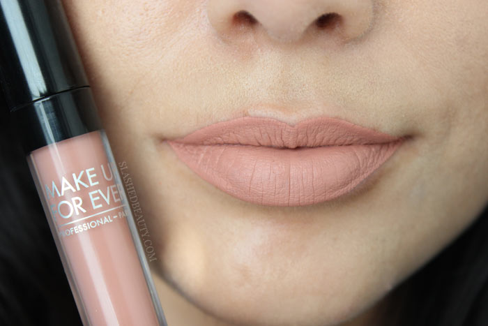Check out the new and best high end matte liquid lipsticks: Make Up For Ever Artist Liquid Matte Lipsticks. See lip swatches of all eight shades! This one is 101, Cream Beige | Slashed Beauty