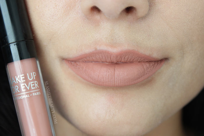 Check out the new and best high end matte liquid lipsticks: Make Up For Ever Artist Liquid Matte Lipsticks. See lip swatches of all eight shades! This one is 103, Warm Beige | Slashed Beauty