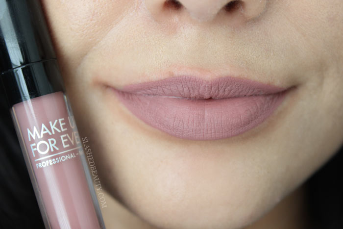 Check out the new and best high end matte liquid lipsticks: Make Up For Ever Artist Liquid Matte Lipsticks. See lip swatches of all eight shades! This one is 105, Rosewood | Slashed Beauty