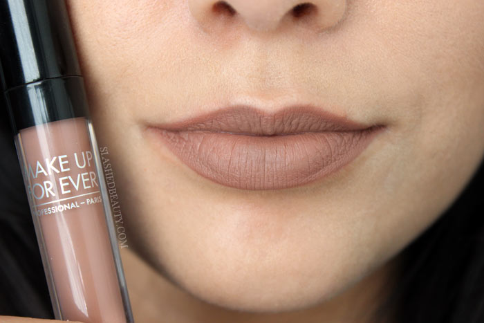Check out the new and best high end matte liquid lipsticks: Make Up For Ever Artist Liquid Matte Lipsticks. See lip swatches of all eight shades! This one is 107, Neutral Beige | Slashed Beauty