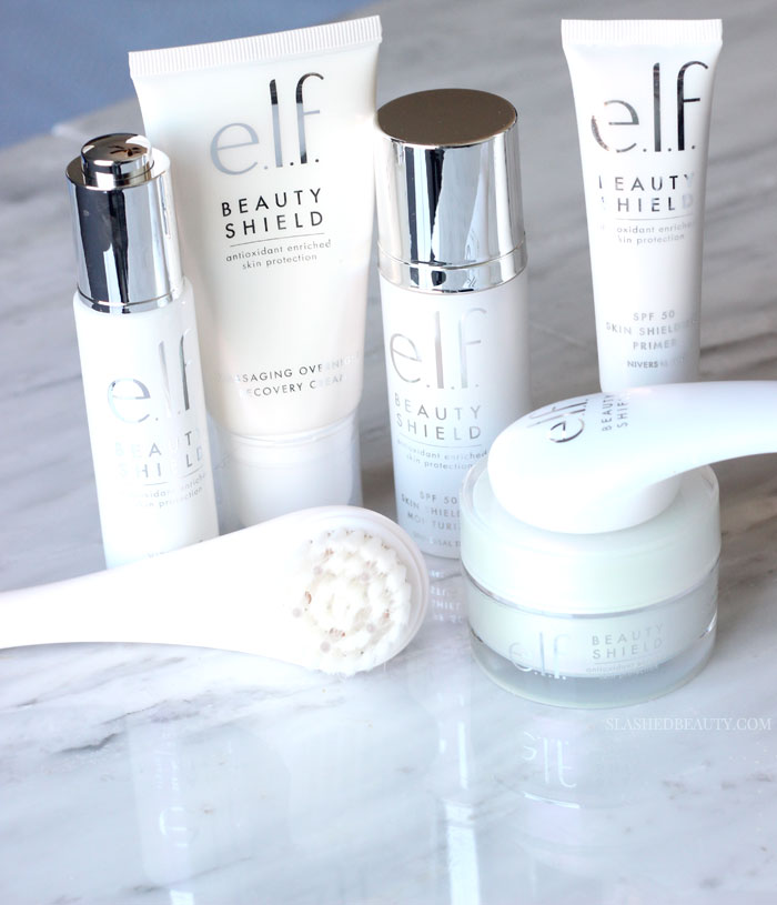 Get a closer look at the e.l.f. Beauty Shield Skin Care collection in this review. This drugstore skin care line is perfect for protection against the environment-- find out which products to pick up ASAP! | Slashed Beauty
