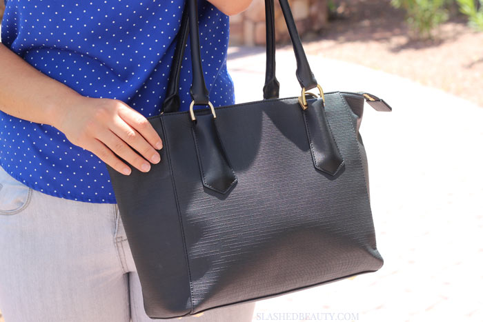 Take a look inside what I consider to be the best purse for everything: the Dagne Dover Midi Tote. | Slashed Beauty