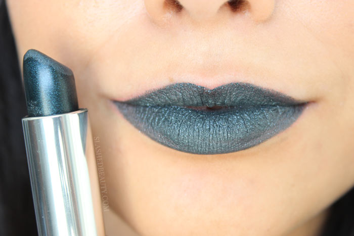 GUNMETAL: Check out the brand new Maybelline Color Sensational Matte Metallics Lispticks-- ten brand new shades that will bring you from summer to fall in bold style. See swatches and read the review! | Slashed Beauty