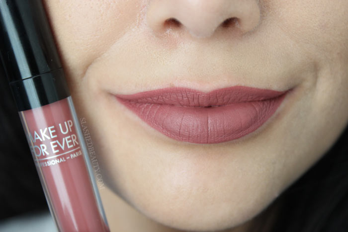 Check out the new and best high end matte liquid lipsticks: Make Up For Ever Artist Liquid Matte Lipsticks. See lip swatches of all eight shades! This one is 109, Praline | Slashed Beauty