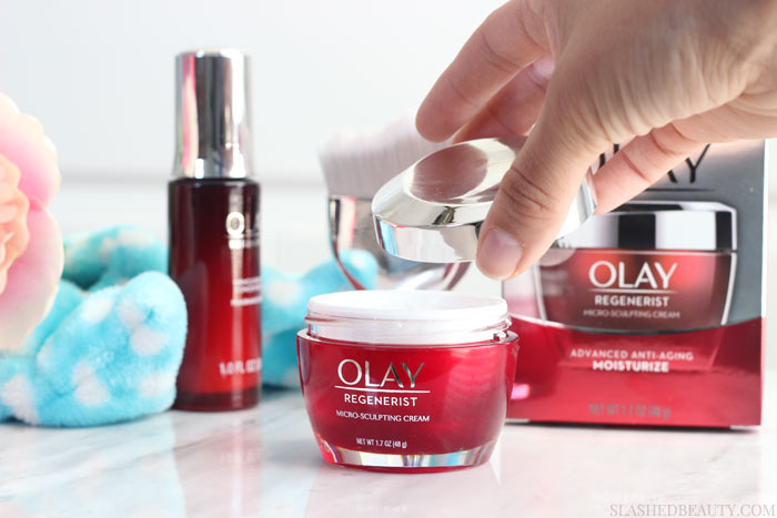 Find out why the Olay Regenerist Micro-Sculpting Cream is my go-to moisturizer to streamline my routine-- it's proven to work as well as prestige creams! | Slashed Beauty
