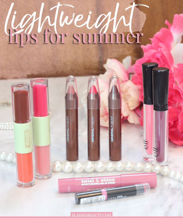 These five lightweight lip products are great to pop on for your summer looks. Convenient and comfortable, which one is right for you? | Slashed Beauty