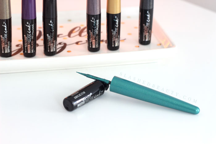 You might have your opinion about the new Maybelline Master Precise Ink Metallic Liquid Liners Review, but are you applying them correctly? Read the review and see swatches. | Slashed Beauty