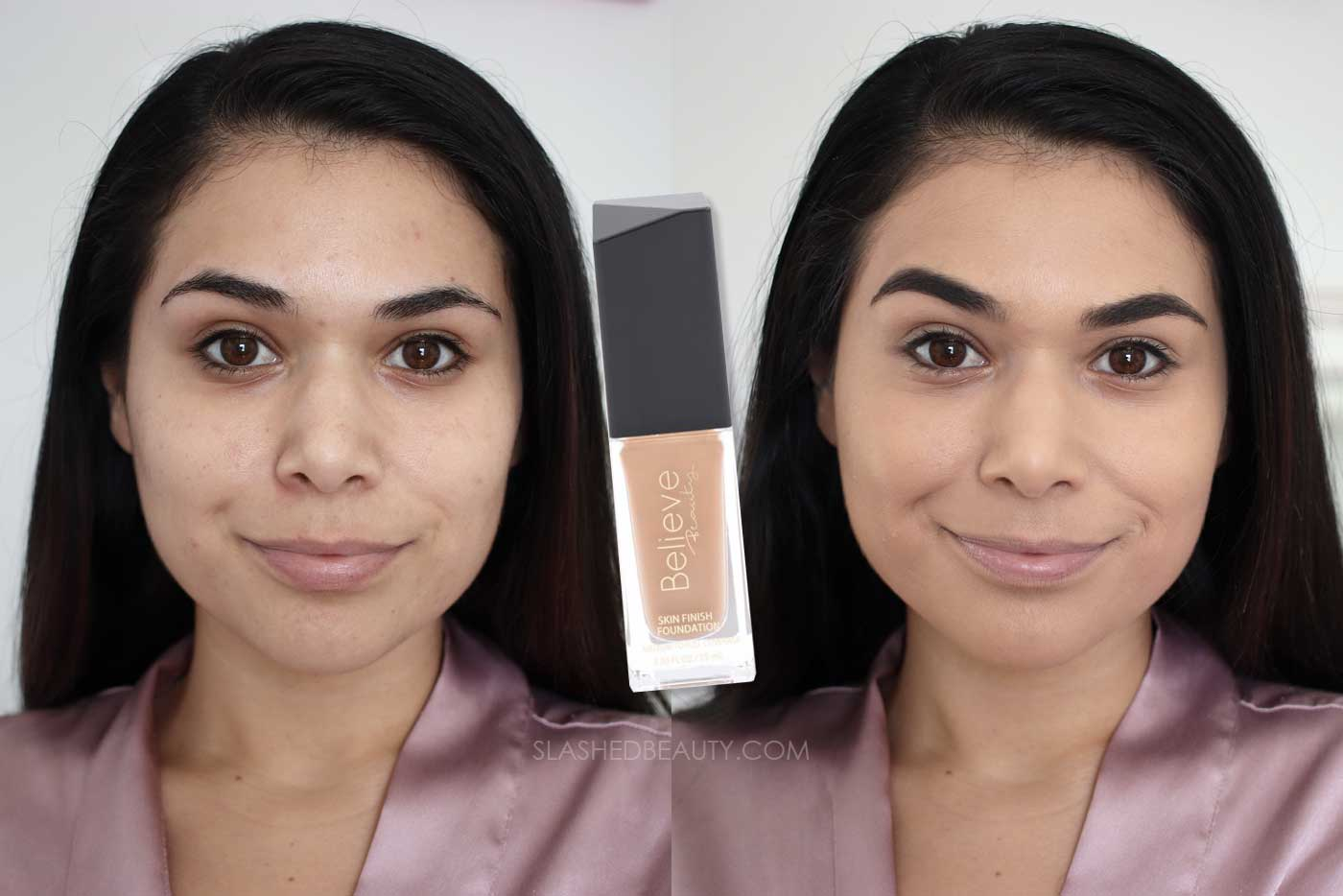 Discover the 4 Best Full Coverage Drugstore Foundations | Believe Beauty Skin Finish Foundation Review Before & After | Slashed Beauty