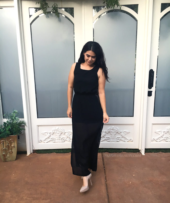 Check out my thrifted dinner date outfit: a $7 black maxi dress and nude pumps... but wait til you see what I ate in it!   Slashed Beauty