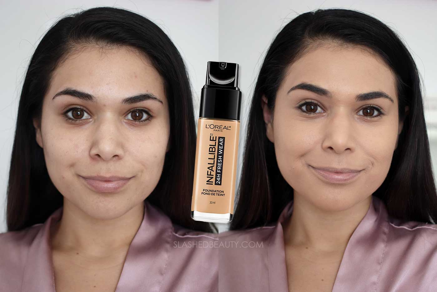 Discover the 4 Best Full Coverage Drugstore Foundations | L'Oreal Infallible Fresh Wear 24HR Foundation Review Before & After | Slashed Beauty