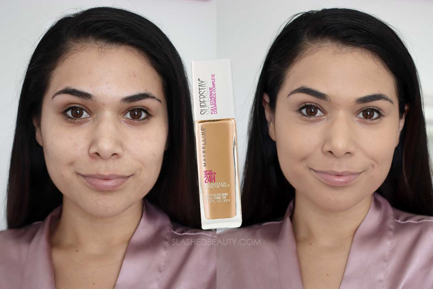 Discover the 4 Best Full Coverage Drugstore Foundations | Maybelline Super Stay Full Coverage Foundation Review Before & After | Slashed Beauty