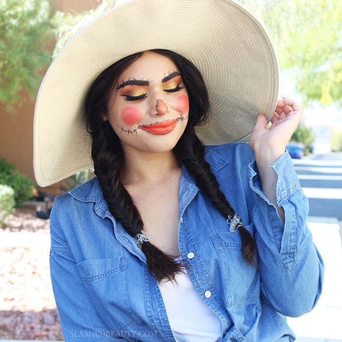 This Easy Halloween Scarecrow Makeup Doesnt Scream Last Minute At All But Its Incredible Easy To Achieve And Pair With Everyday Products