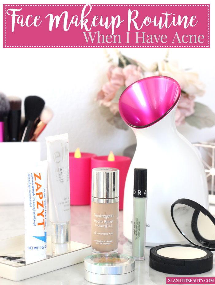 Sometimes you have to put makeup over acne breakouts. Here's a routine for lightweight coverage that won't make the problem worse! | Slashed Beauty