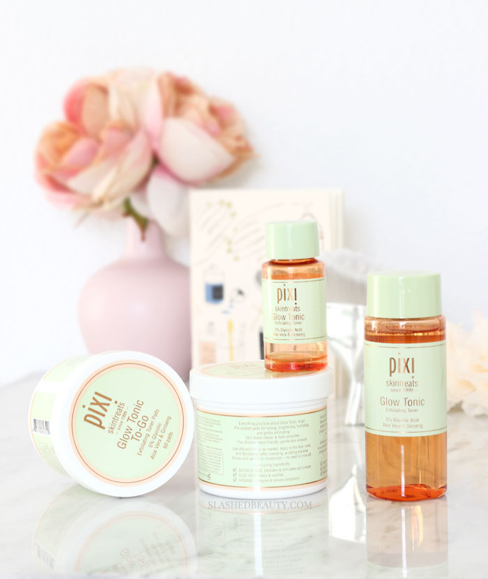 The Pixi Glow Tonic is still a skin care holy grail-- see why it's such a cult favorite and how it's helped my combination acne prone skin. | Slashed Beauty