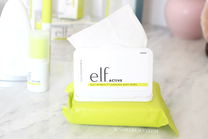 POST-WORKOUT CLEANSING BODY WIPES - Discover the new e.l.f. ACTIVE collection-- skin care and makeup for the gym and workouts that's lightweight and sweat resistant! | Slashed Beauty