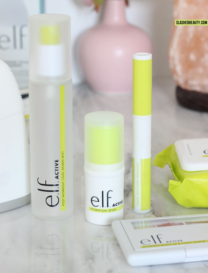 Discover the new e.l.f. ACTIVE collection-- skin care and makeup for the gym and workouts that's lightweight and sweat resistant! | Slashed Beauty