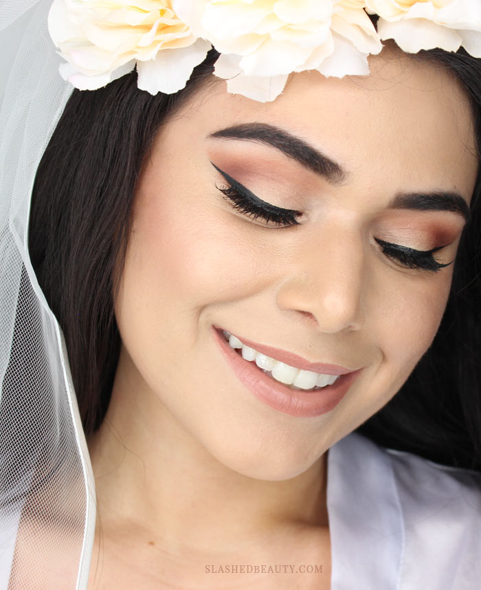 See how I did my fall wedding makeup! Warm eyes and glowing skin for this fall bride. Watch the full tutorial. | Slashed Beauty