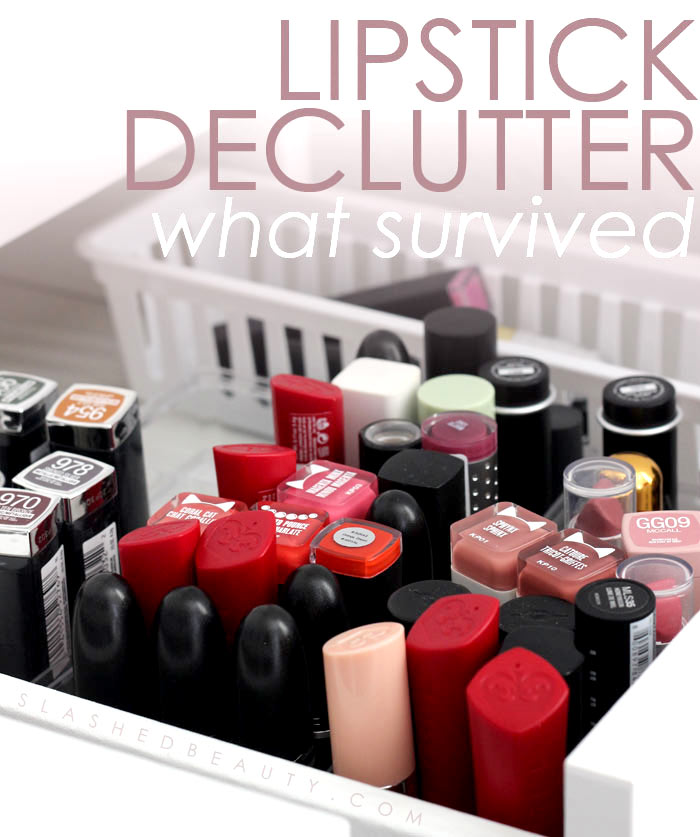 I spent the weekend decluttering my lipstick in my makeup drawers. Find out what survived the purge and see what I tossed. | Slashed Beauty