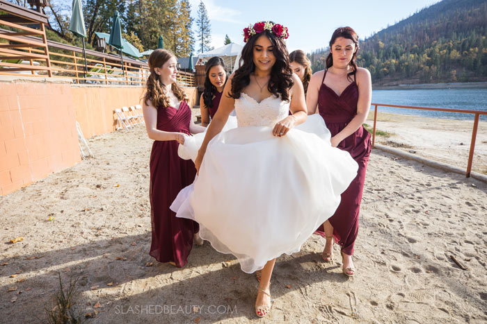 Ballgown on Beach: See more wedding photos from this red fall wedding at Bass Lake (The Pines Resort). | Slashed Beauty
