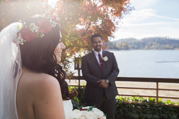See more wedding photos from this red fall wedding at Bass Lake (The Pines Resort). | Slashed Beauty
