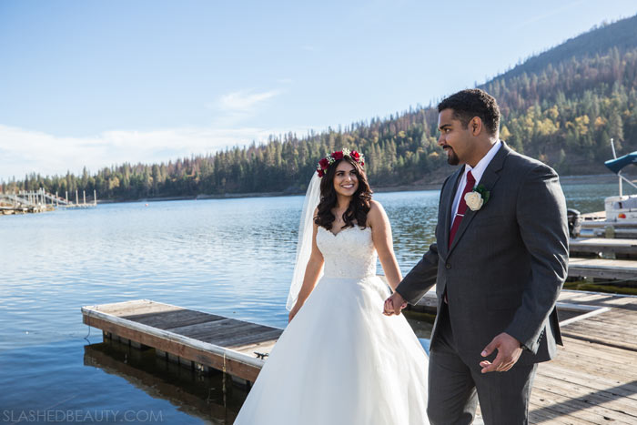 Wedding on the Docks: See more wedding photos from this red fall wedding at Bass Lake (The Pines Resort). | Slashed Beauty