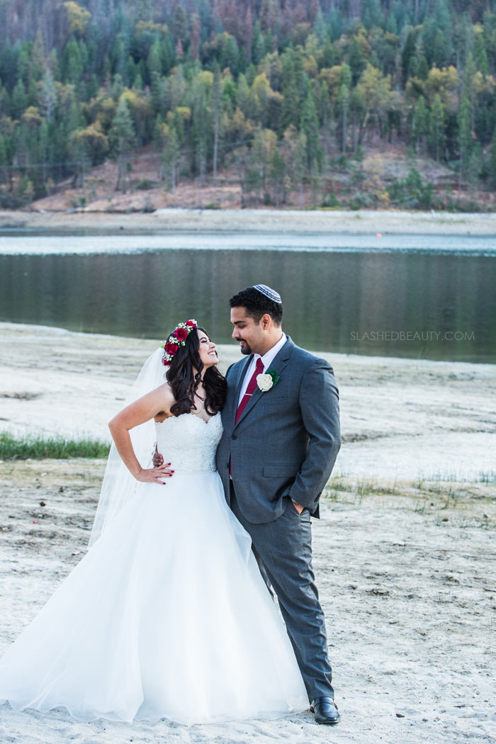 Beach Wedding Photos: See more wedding photos from this red fall wedding at Bass Lake (The Pines Resort). | Slashed Beauty